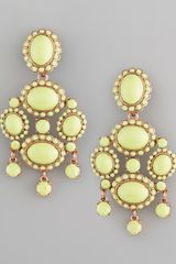 Oscar de la Renta Cabochon Drop Clip Earrings Bright Green - Lyst
