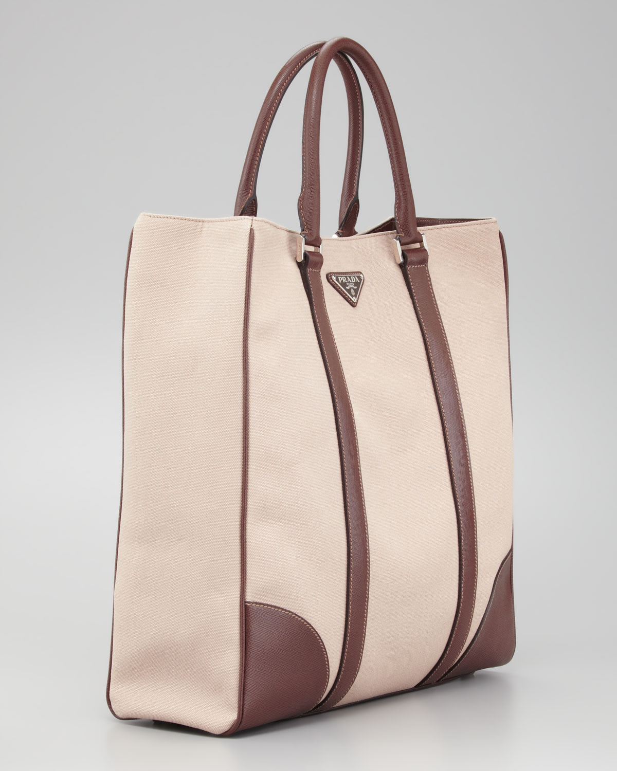 b37283c672 cheap lyst prada canvas leather tote bag in natural for men 6093f eafec