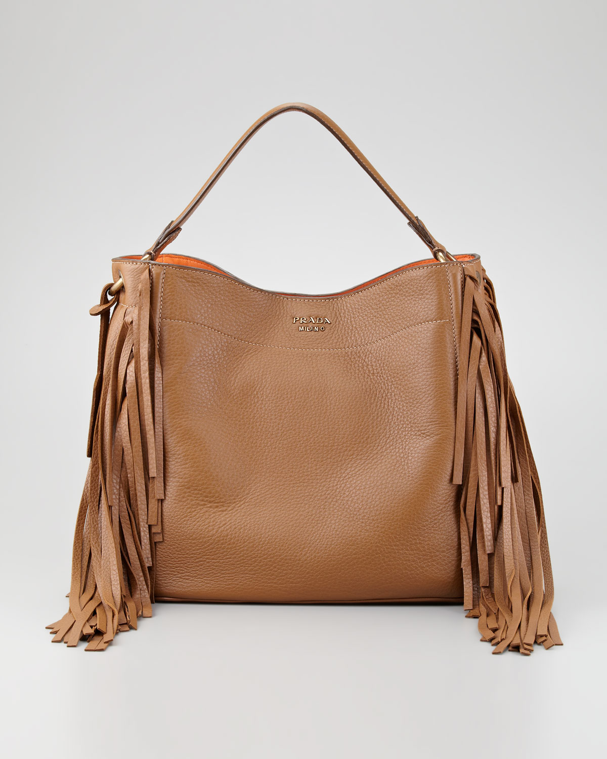 popular tote bag with brown handles - Prada Cervo Fringe Hobo in Brown (cammello) | Lyst