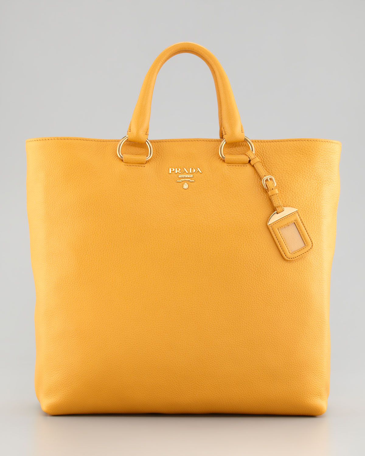 d1b481e56dc5 promo code for lyst prada daino pebbled leather tote bag in orange 02519  79556