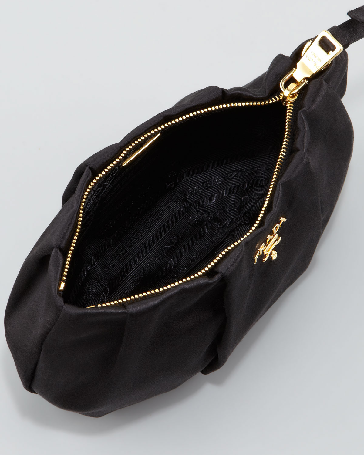 Prada Satin Wristlet Bag in Black (nero) | Lyst