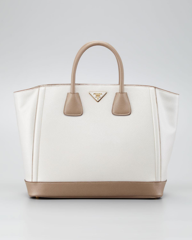 Lyst - Prada Saffiano Large Bicolor Tote Bag in White bdc2fb8b3c6ab