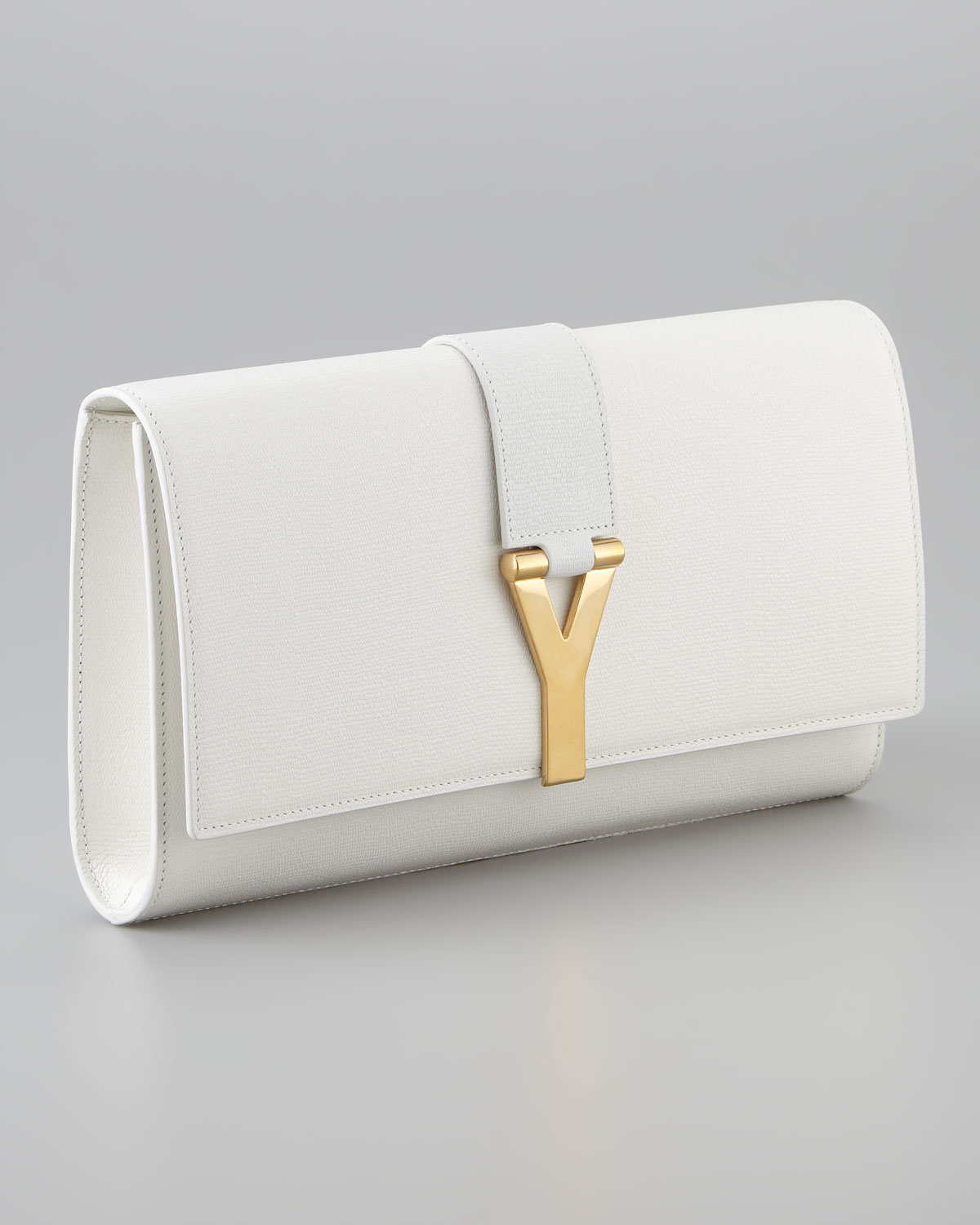 ysl cabas chyc large leather tote - Saint laurent Cabas Chyc Clutch Bag in White (off white) | Lyst