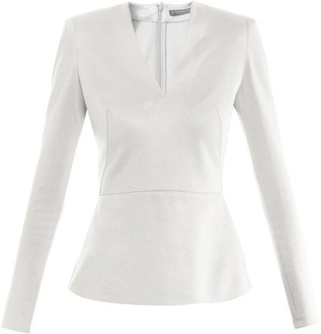 Alexander Mcqueen Pique Jersey Peplum Top in White (silver)