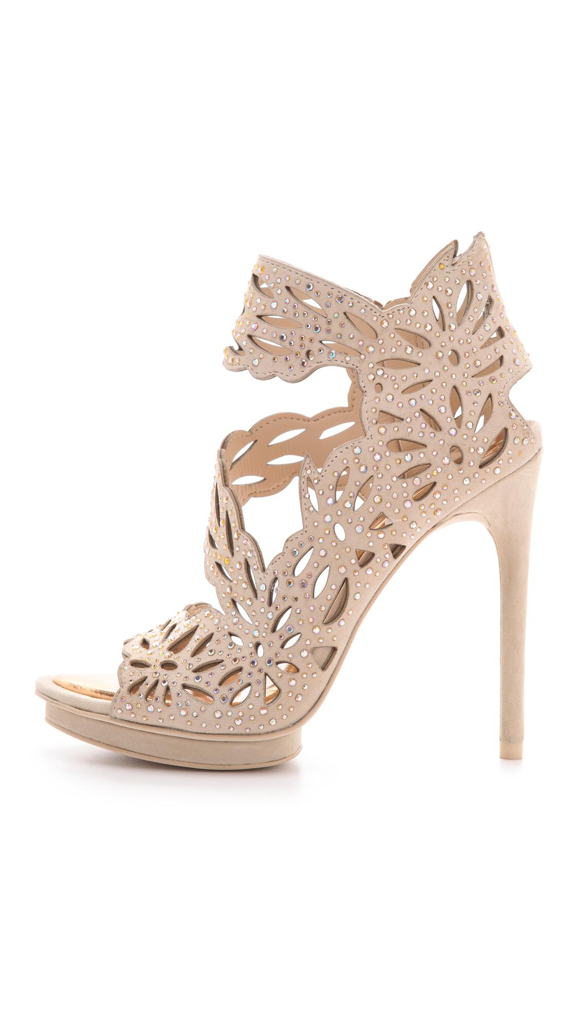 Bcbgmaxazria Faricia Suede Sandals In Natural Lyst