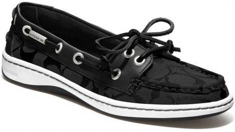 coach richelle boat shoe in black black black lyst