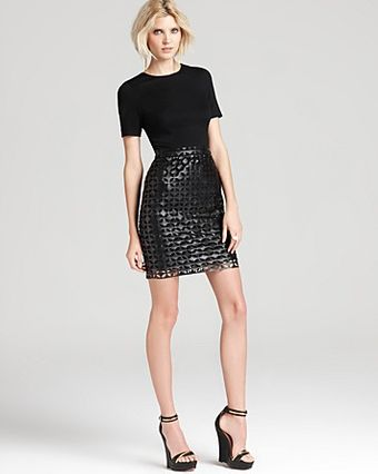 Cynthia Steffe  Amelia Laser Cut Faux Leather Dress - Lyst