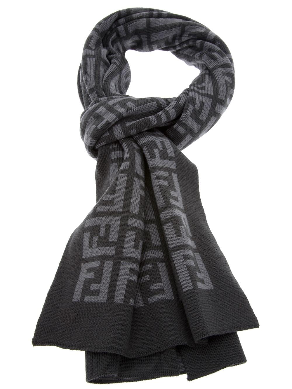 fendi logo embellished scarf in gray for grey lyst