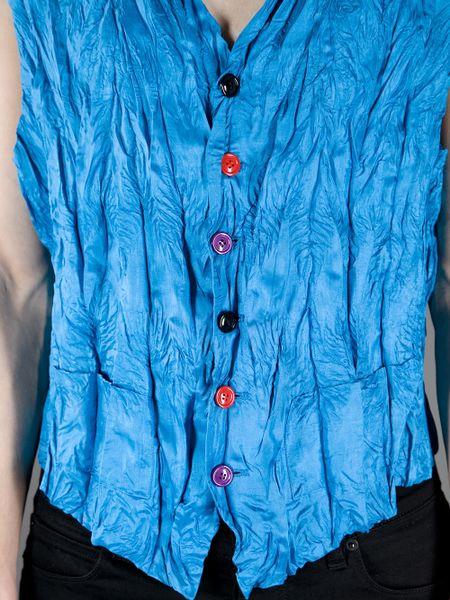 Issey Miyake Wrinkle Effect Waistcoat In Blue For Men Lyst