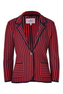 Juicy Couture Sirenroyal Navy Wool Nautical Knit Striped Blazer - Lyst