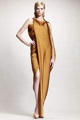 Lanvin Asymmetric Draped Satin Gow