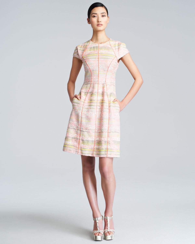 Lela Rose Cap Sleeve Boucle Dress In Natural
