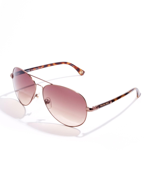 4b52c5b58db Lyst - Michael Kors Karmen Aviator Sunglasses in Pink