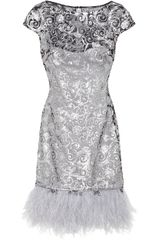 Notte By Marchesa Sequin and Feather embellished Tulle and Stretch silk Dress - Lyst