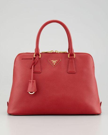 Prada Saffiano Promenade Lux Handbag in Red (fuoco)