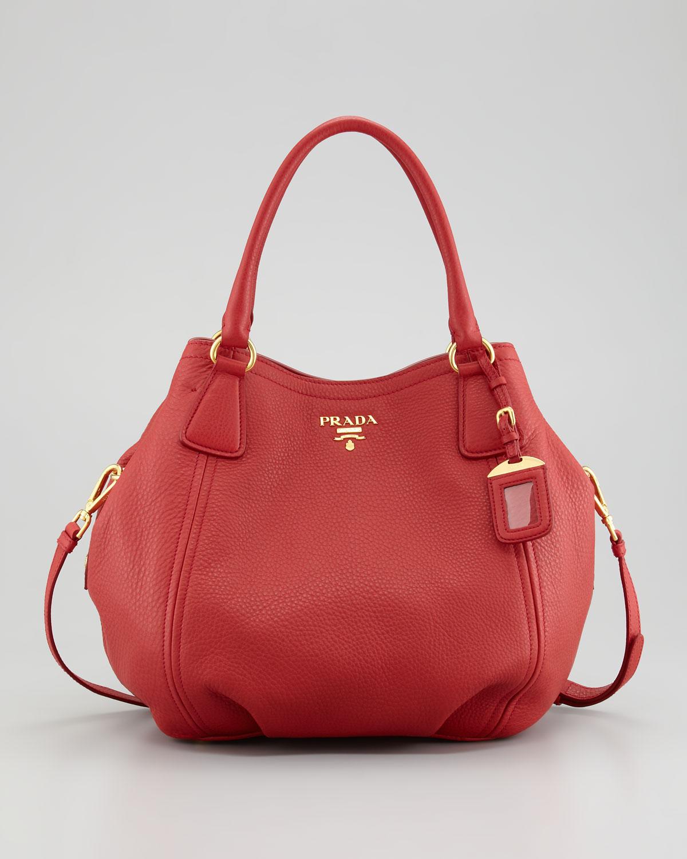 Prada Vitello Daino Tote Bag in Red | Lyst