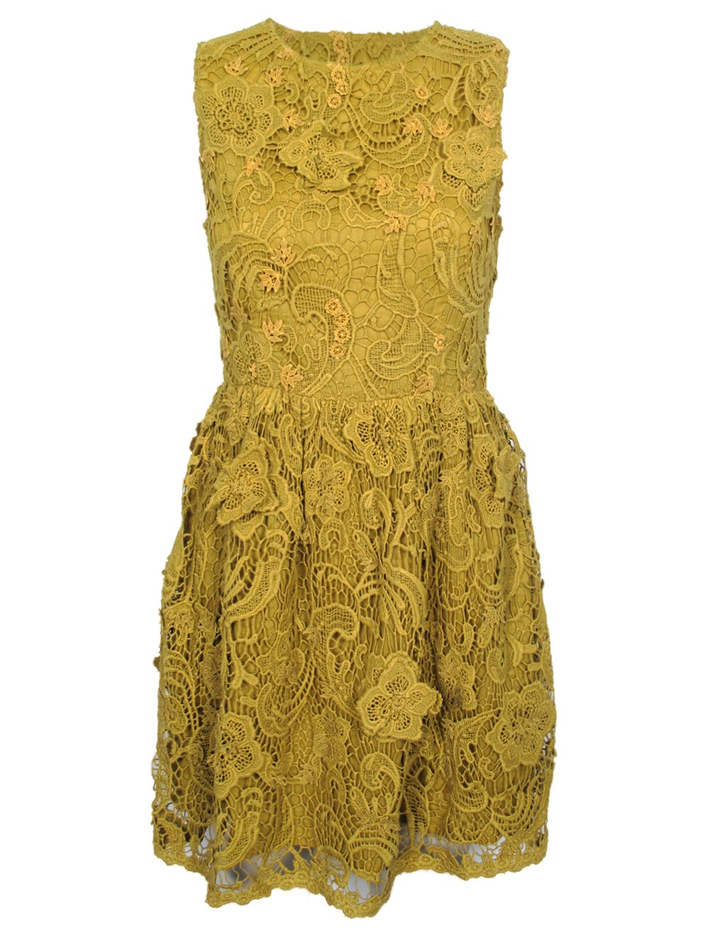 Crochet Lace Dress : Suno Crochet Lace Dress in Yellow (mustard) Lyst