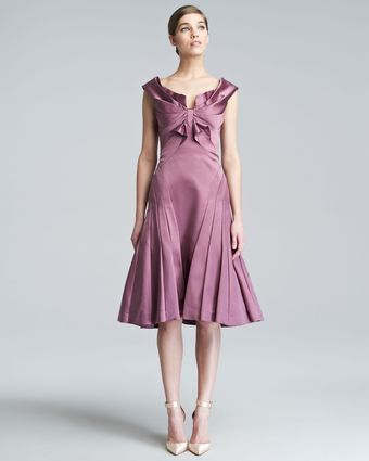 Zac Posen Duchess Satin Flare Dress - Lyst