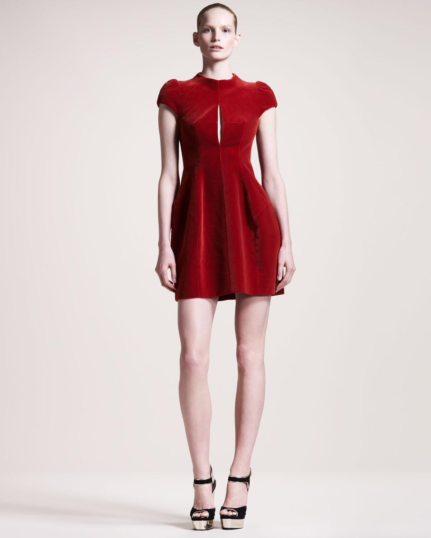 Lyst - Carven Velvet Capsleeve Dress in Red