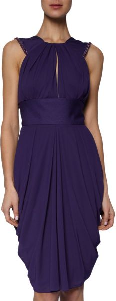 J. Mendel Beaded Halter Dress in Purple