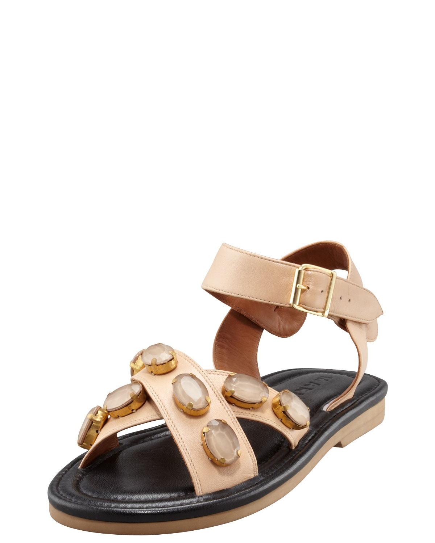 cef307d23647 Lyst - Marni Crisscross Bejeweled Flat Sandal in Natural