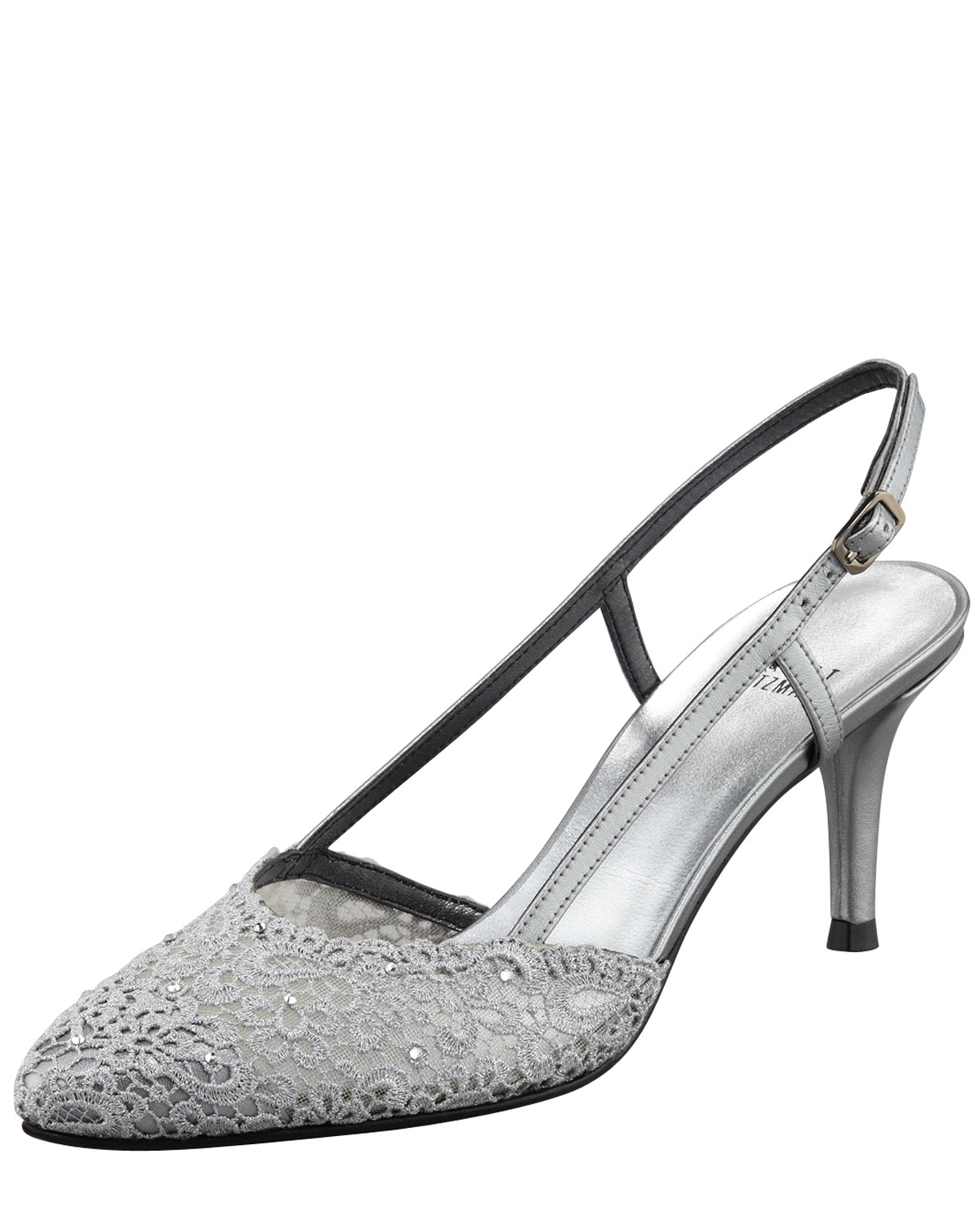Stuart weitzman Lady Lace Kittenheel Slingback Pump in Metallic | Lyst