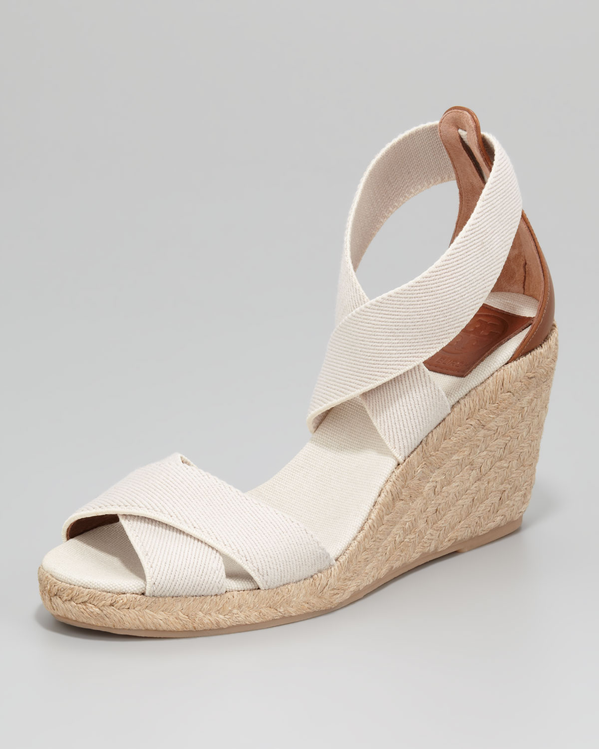 5d5ecba1e12f Lyst - Tory Burch Adonis Stretch Espadrille Wedges in Natural
