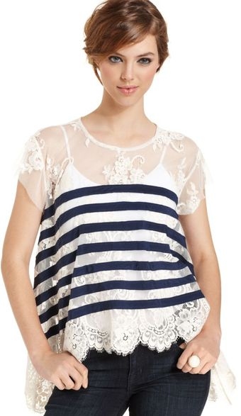 BCBGMAXAZRIA Short Sleeve  Lace Striped Top - Lyst