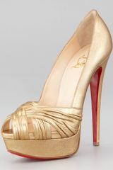 Christian Louboutin Aborina Metallic Twistfront Platform Red Sole Pump - Lyst
