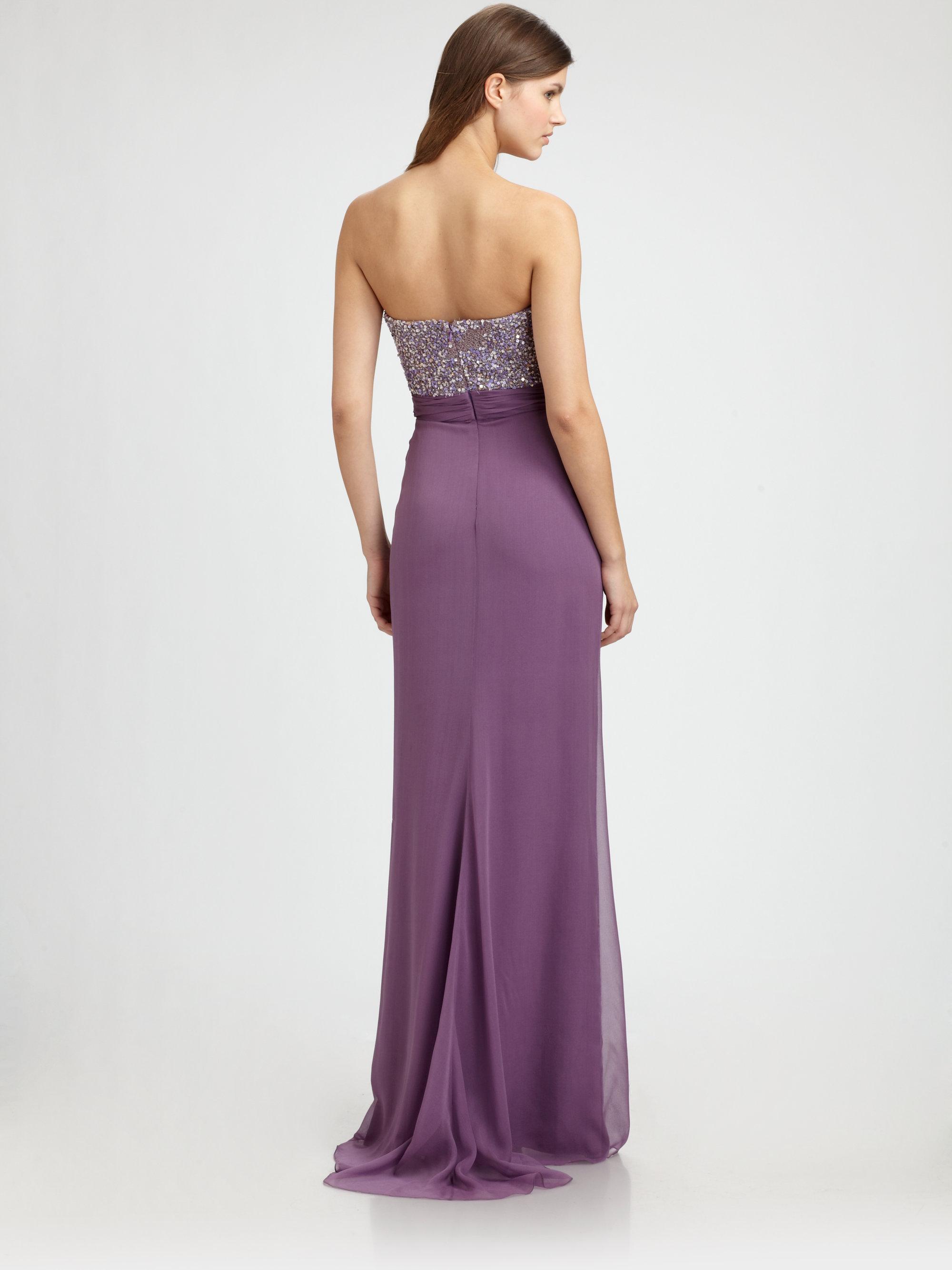 Lyst - Badgley Mischka Beaded Silk Gown in Purple