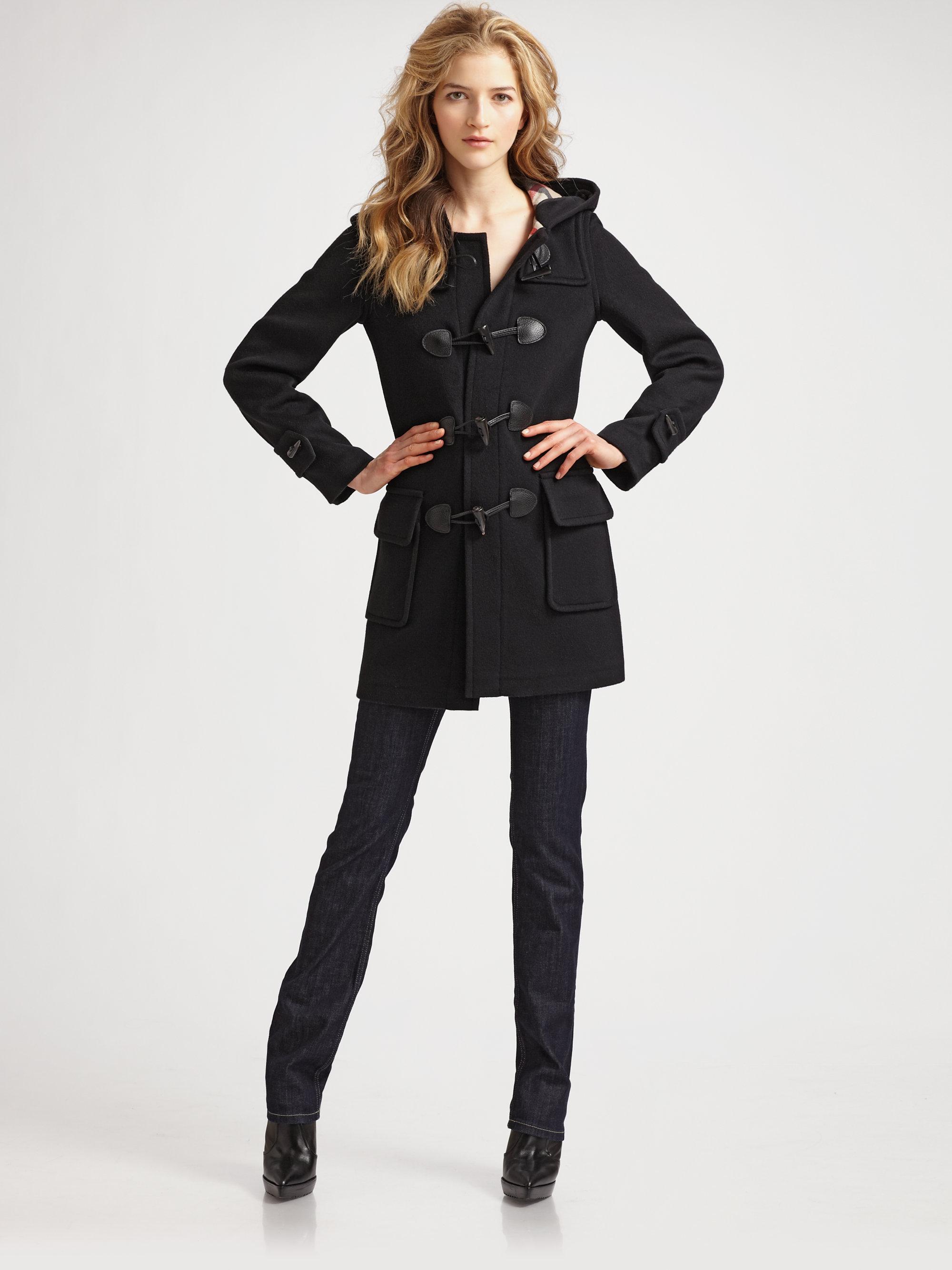 burberry brit wool duffle coat in black lyst. Black Bedroom Furniture Sets. Home Design Ideas
