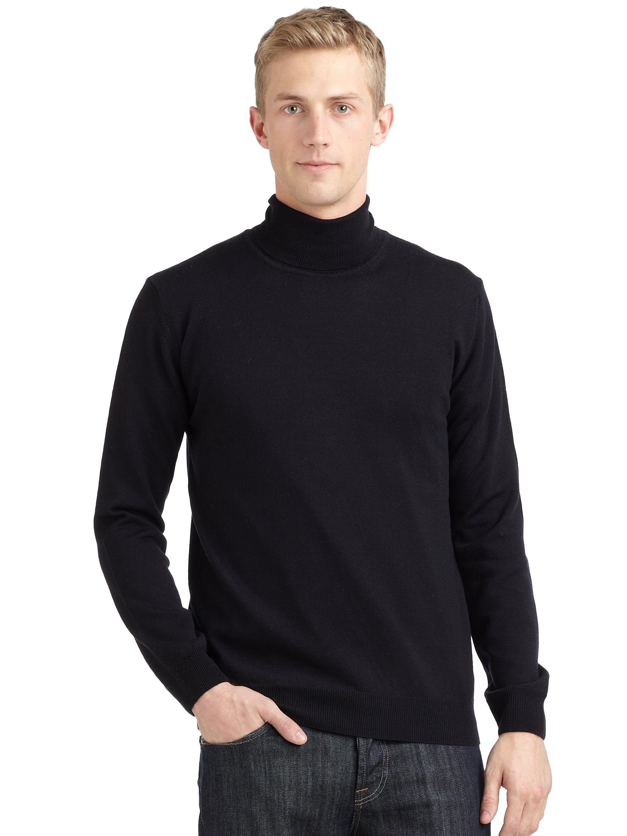 Calvin Klein Merino Wool Turtleneck Sweater In Blue For