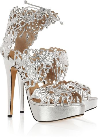 Charlotte Olympia Belinda Cutout Leather Sandals - Lyst