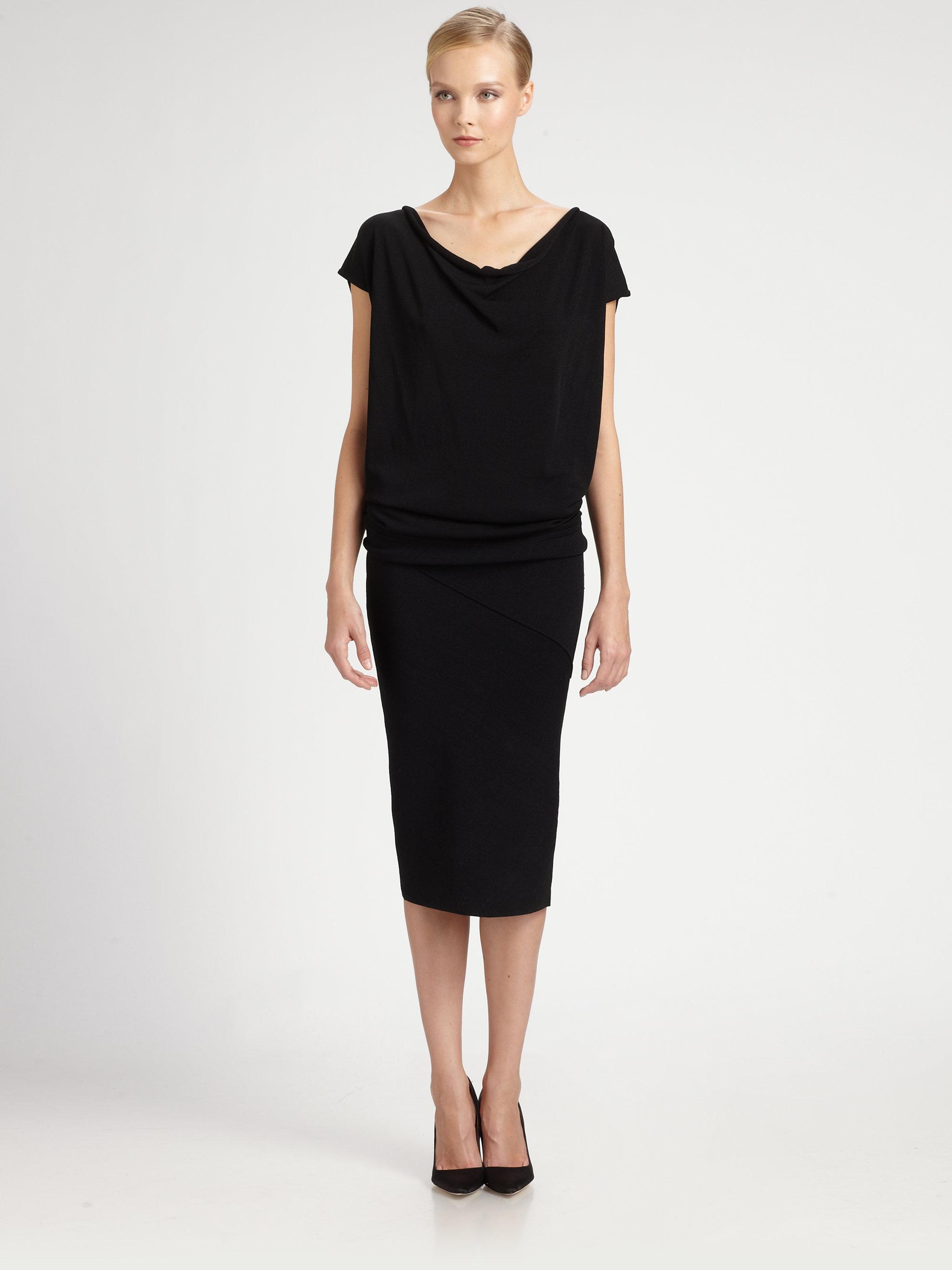 Donna karan new york drape front dress in black lyst for Donna karan new york