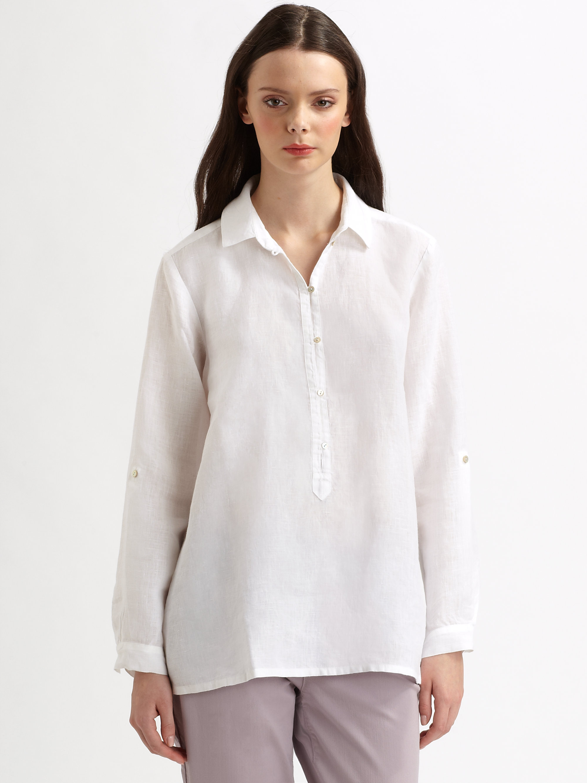 Eileen fisher Irish Linen Pullover Blouse in White | Lyst