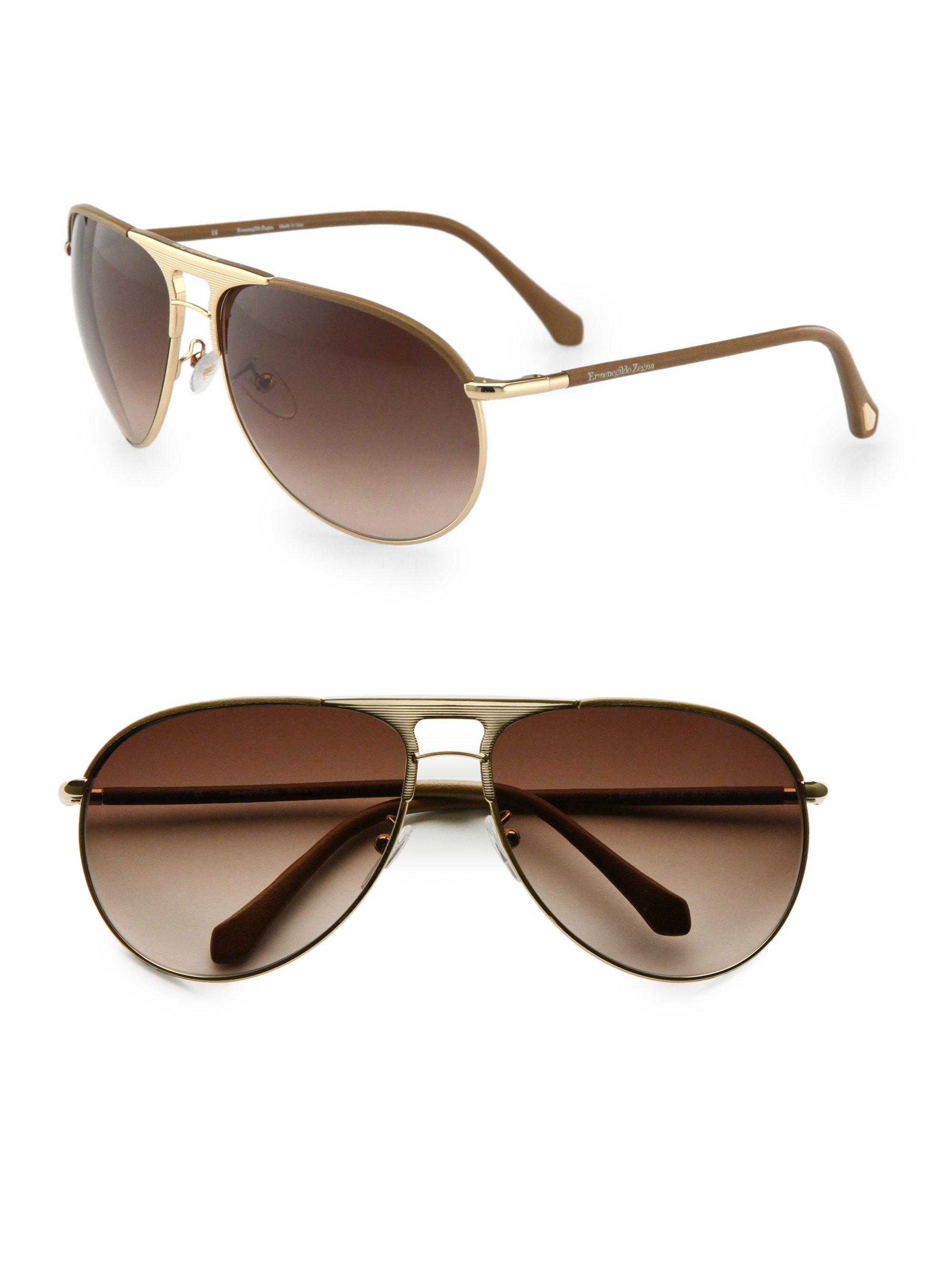 cdea758969aa Ermenegildo Zegna Aviator Sunglasses in Brown for Men - Lyst
