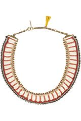 Isabel Marant Glass Bead and Bone Necklace - Lyst