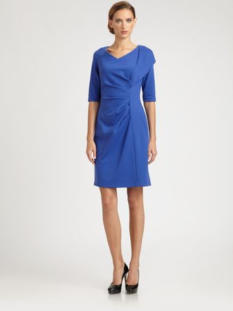Kay Unger Ponte Side Drape Dress - Lyst