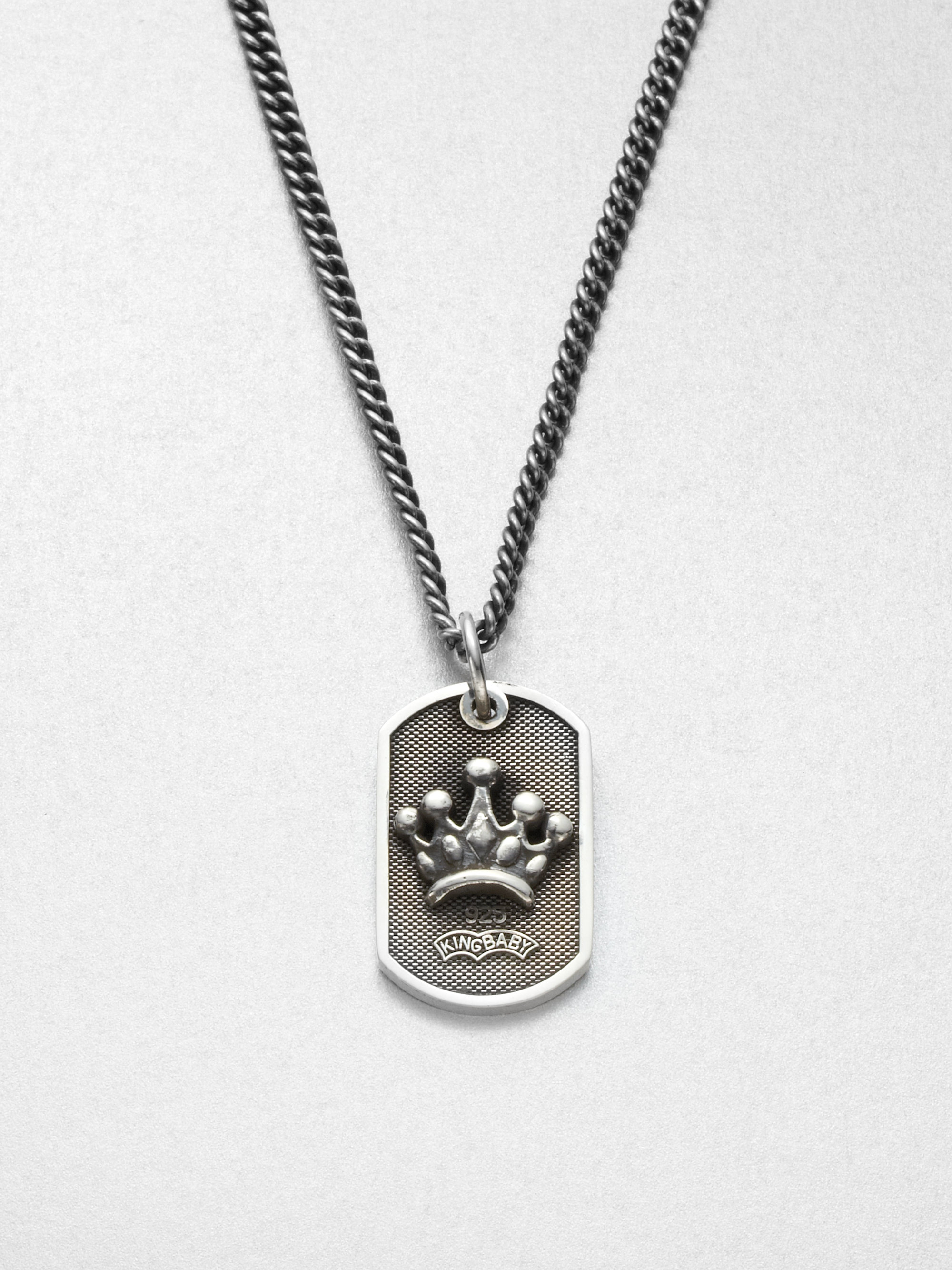 Lyst King Baby Studio Sterling Silver Crown Dog Tag