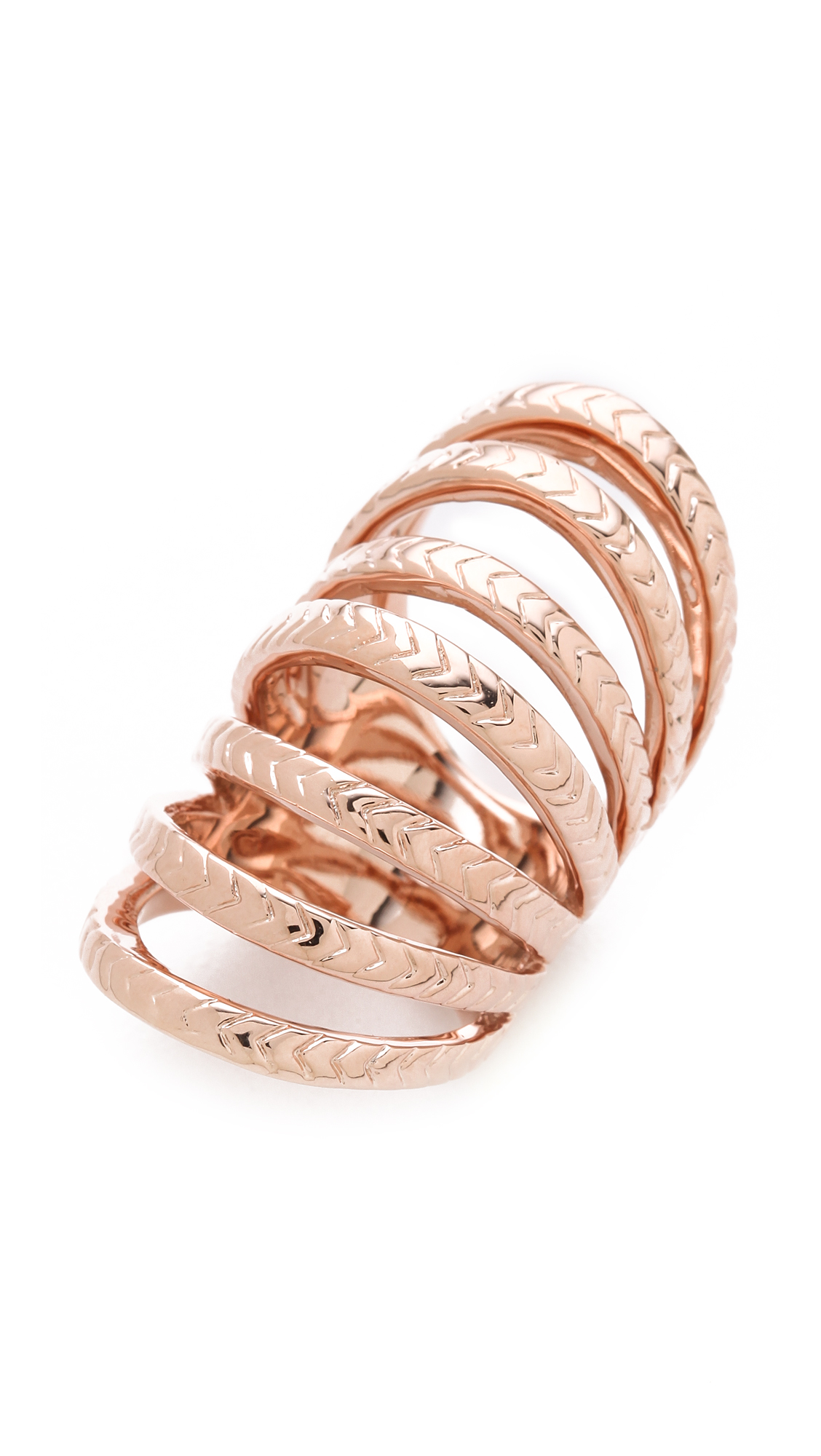 Lyst Made Her Think Chevron Tunnel Ring In Metallic
