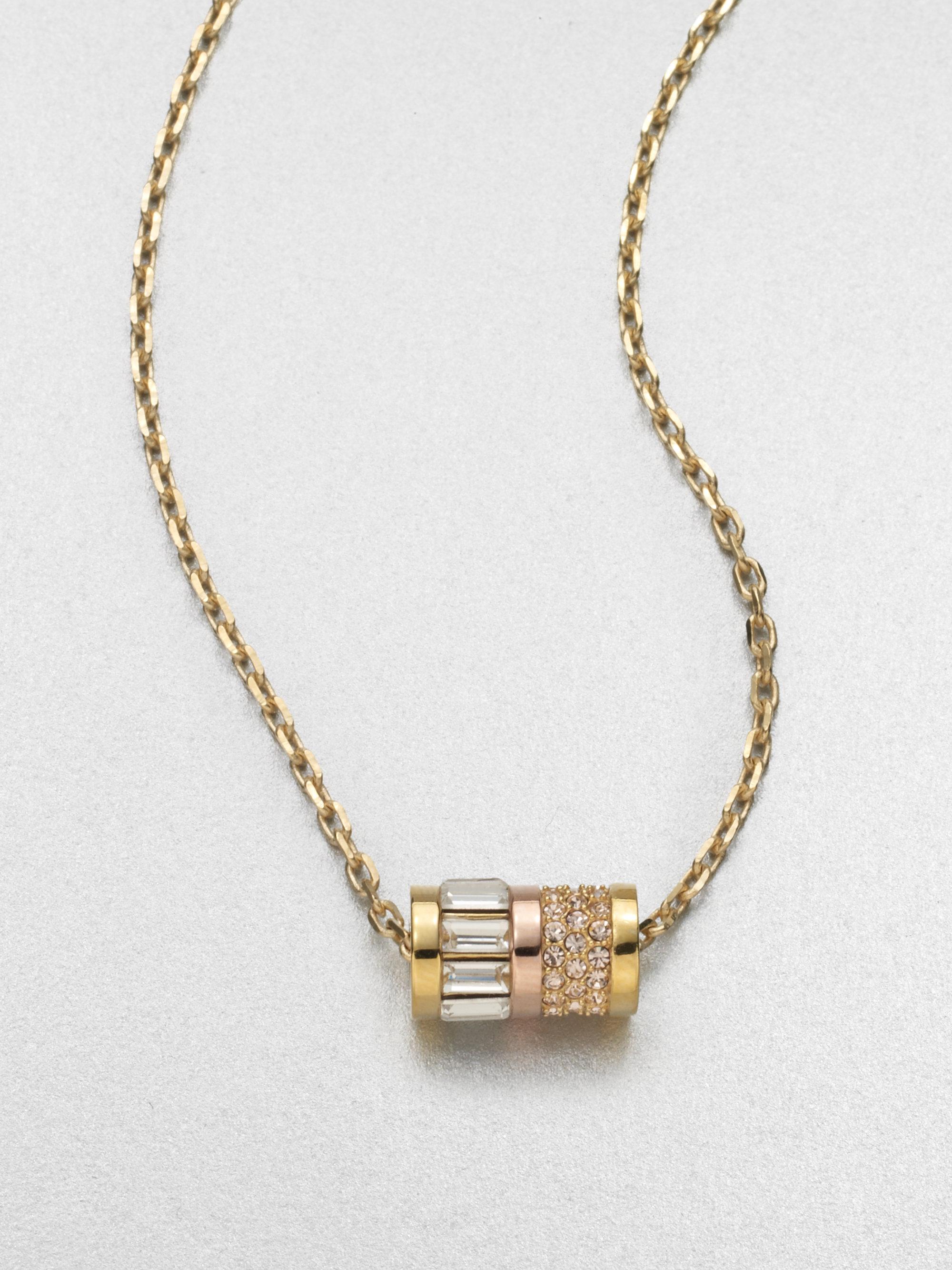 Lyst Michael Kors Barrel Pendant Necklace In Metallic