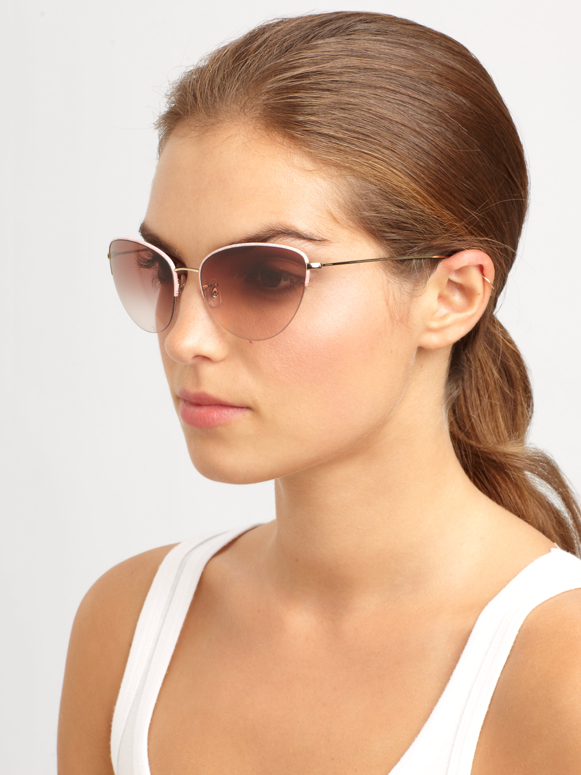 Lyst - Oliver Peoples Kiley Metal Cats-eye Sunglasses in Pink