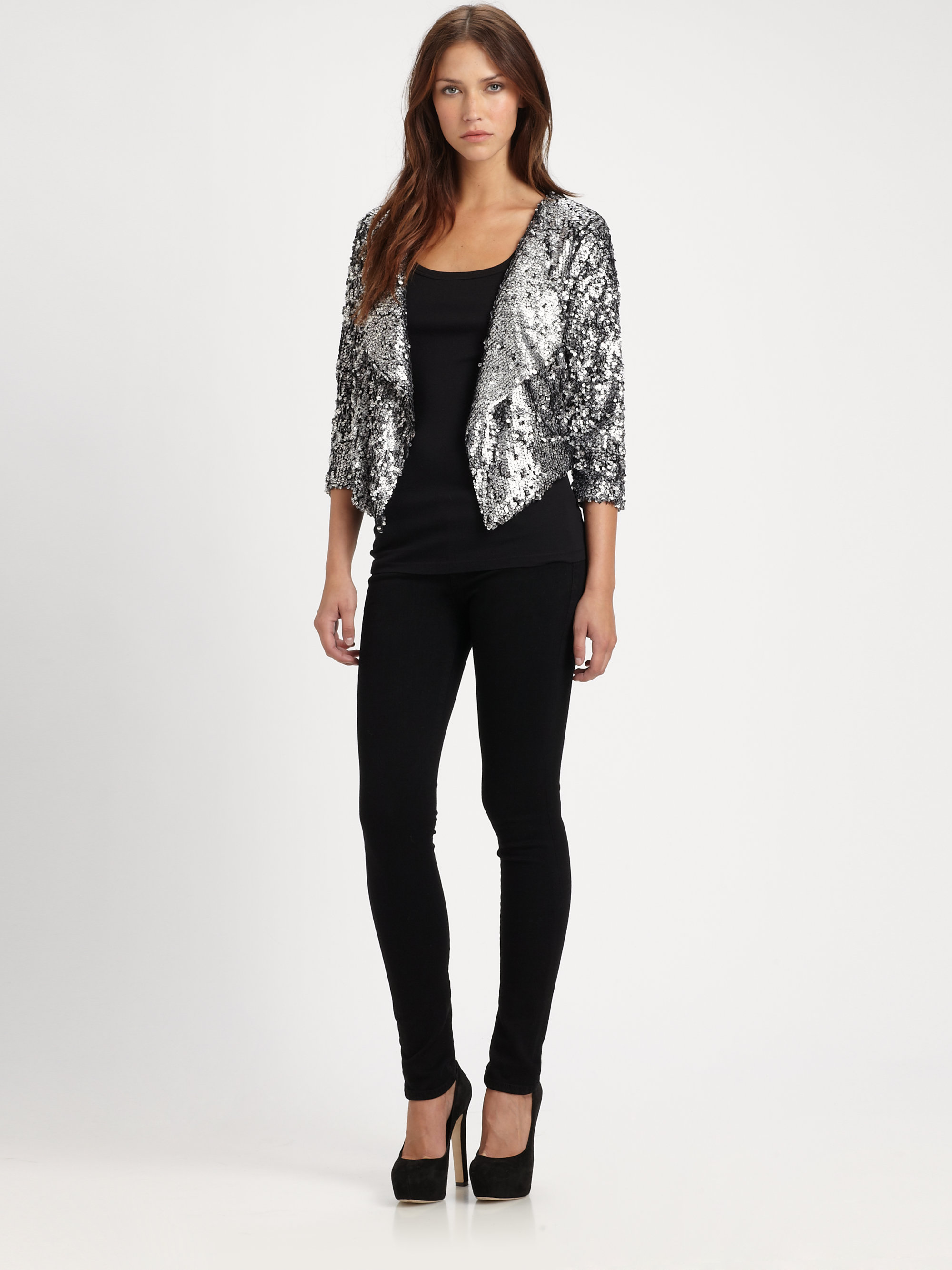 05875f77 T-bags Cropped Sequin Jacket in Metallic - Lyst