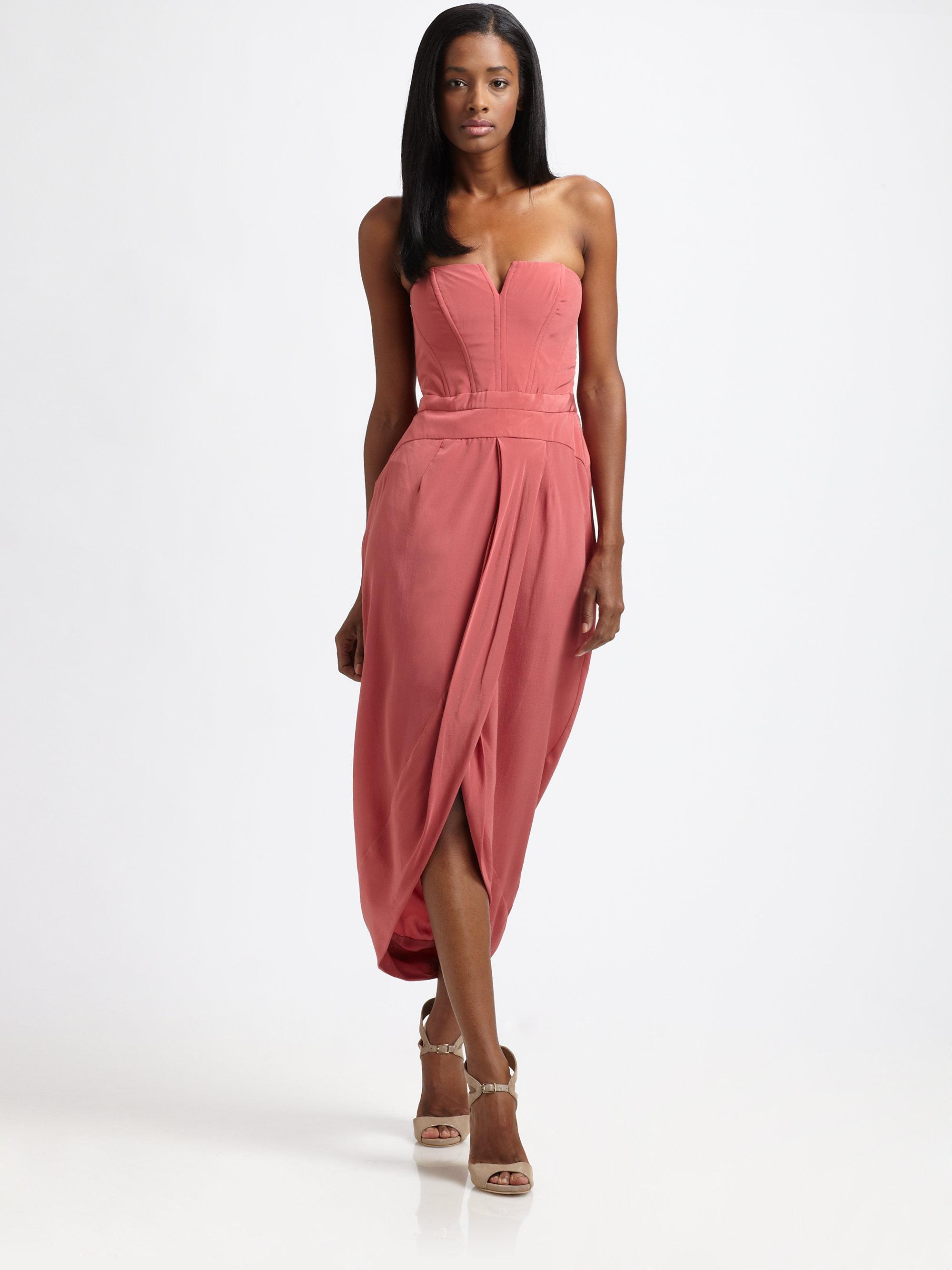 ec12e35420fc3b Zimmermann Strapless Silk Maxi Dress in Pink - Lyst