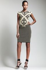 Alexander McQueen Short Honeycomb Cap-sleeve Dress - Lyst