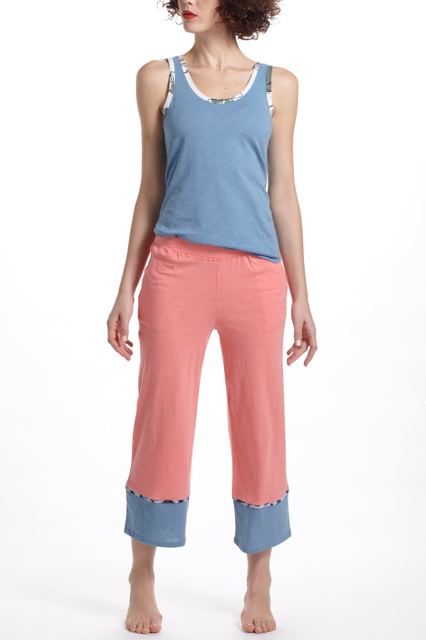 Lyst Anthropologie Cropped Colorblocked Loungers In Pink