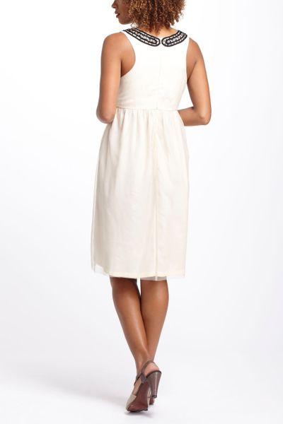 anthropologie beaded tulle cocktail dress in white ivory