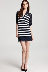 BCBGMAXAZRIA Dress Lace Striped - Lyst