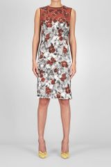 Bottega Veneta Platre Nero Appia Studded Silk Primerose Print Dress - Lyst