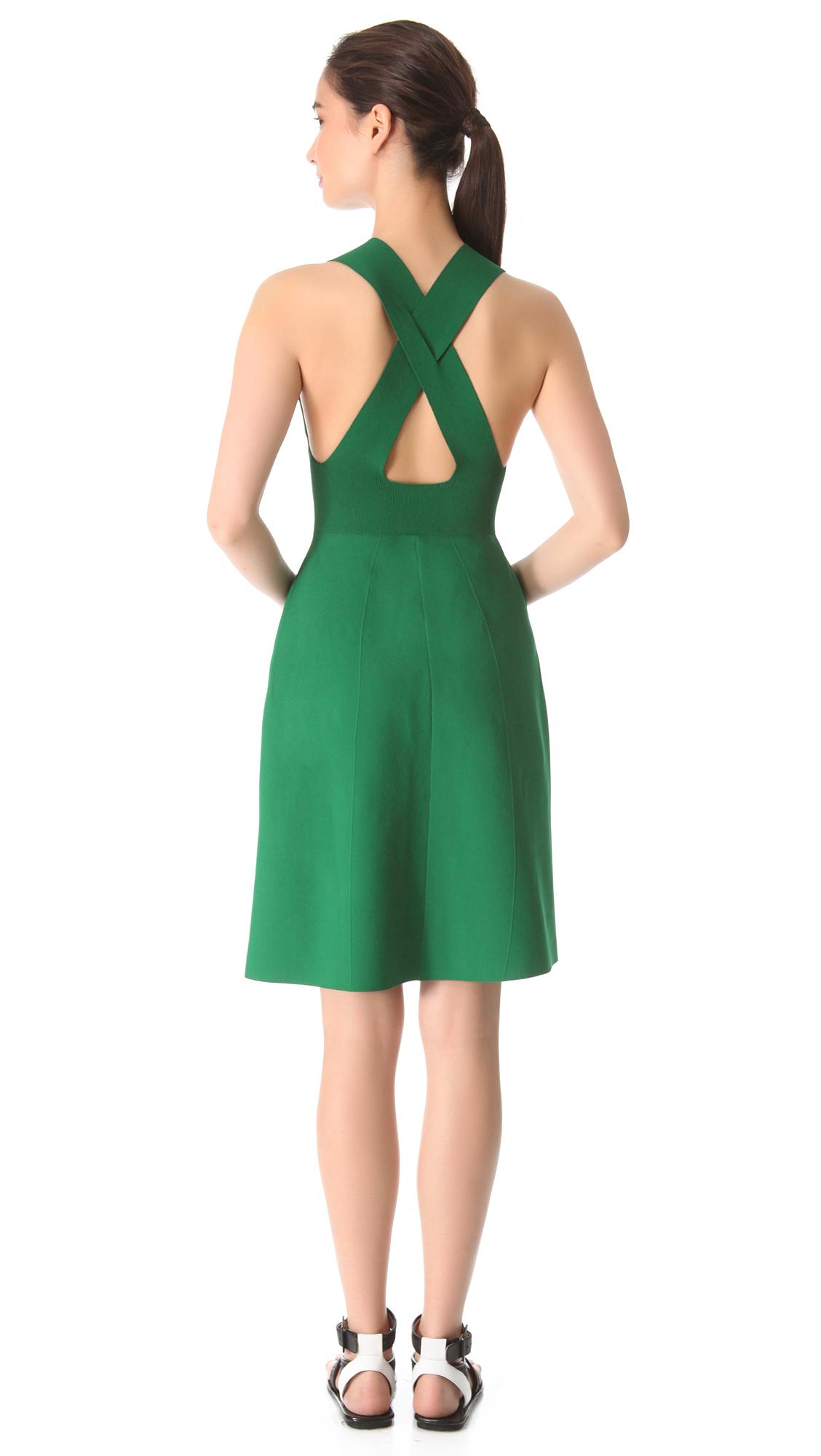 Lyst Calvin Klein Gazsi Cross Back Dress In Green